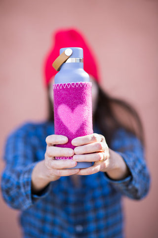 heart shaped coozie on waterbottle