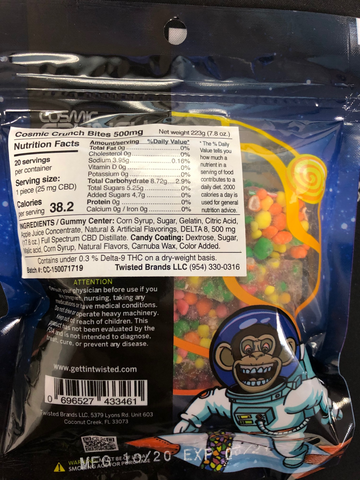 cosmic crunch by Twisted Labs 500mg of delta 8 thc edibles- 20 pieces