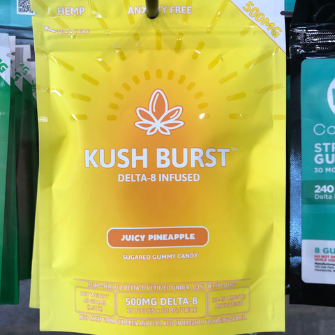 Kush Burst Delta 8 THC edibles 50mg an edible Juicy Pineapple Flavor