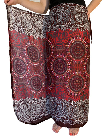 Wrap Skirt - Red Honeycomb