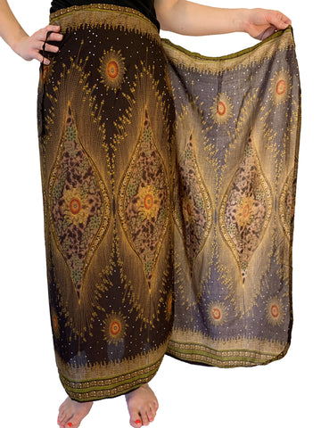 Wrap Skirt - Brown Peacock