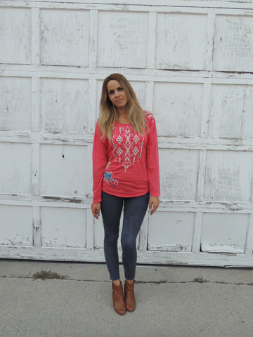 Johnny Was Embroidered Coral Top
