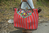 Guatemalan Rojo Embroidered Overnight Bag