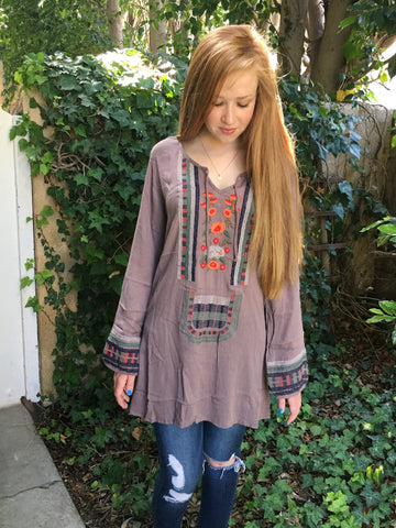 Heidi Embroidered Tunic in Taupe