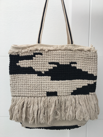 Cream & Black Woven Rug Bag