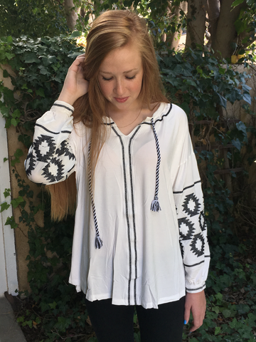 Bohemian White & Black Embroidered Top