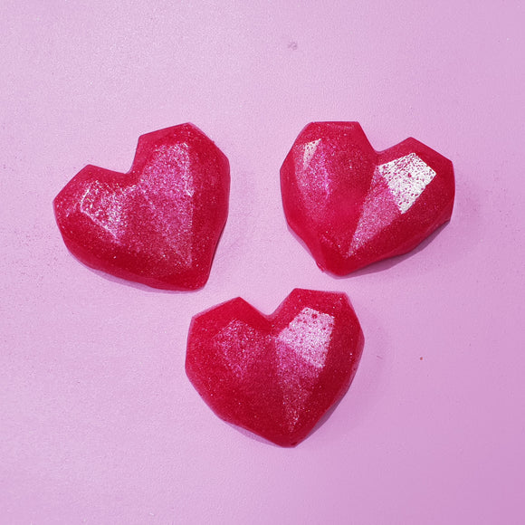 Geo Heart Love Shimmering Jelly Soap!