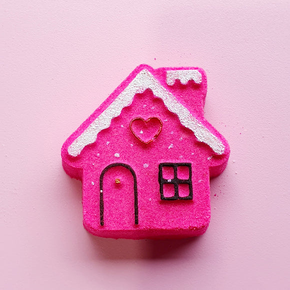 Gingerbread House Bath Bomb - Pink Icing