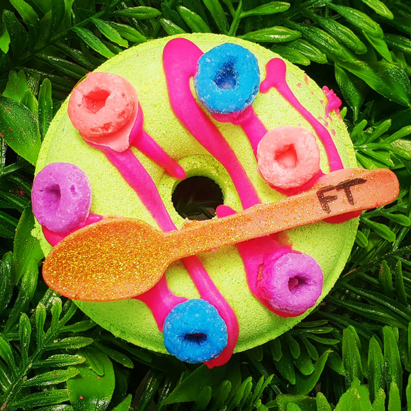 Fruity Loops Donut with Spoon Donut Bath Bomb