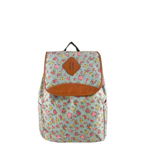 Blue Floral Print Backpack