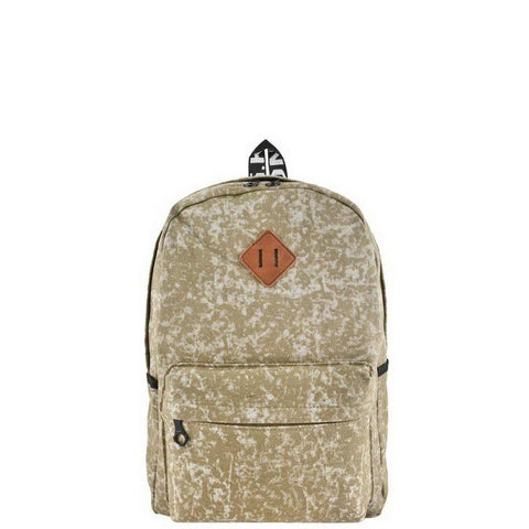 Beige Acid Wash Backpack
