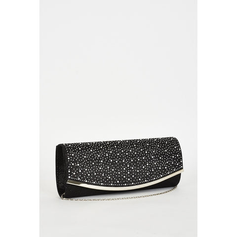 Rhinestone Detail Black Clutch Bag