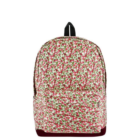White Floral Zipper Backpack