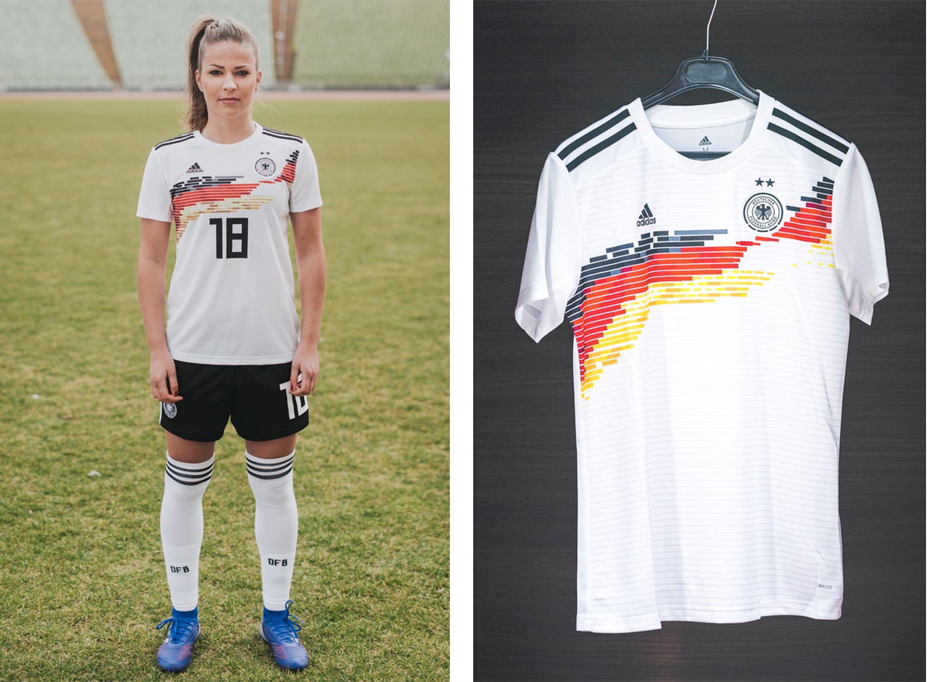 c51925f6eb4 The timeless kit is completed by black shorts and white socks. The away  jersey of the DFB women is burgundy, and the goalkeepers will play in blue.