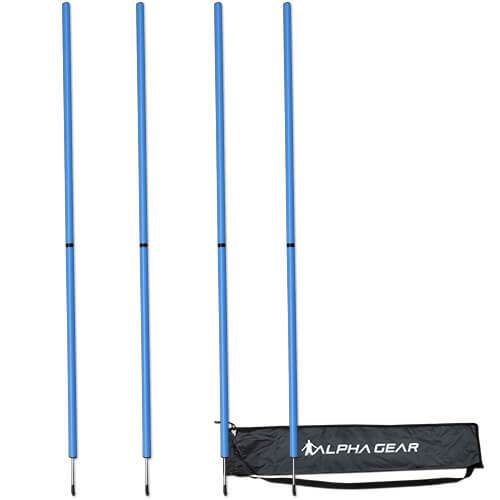 4 PACK AGILITY POLE WITH BAG BLUE