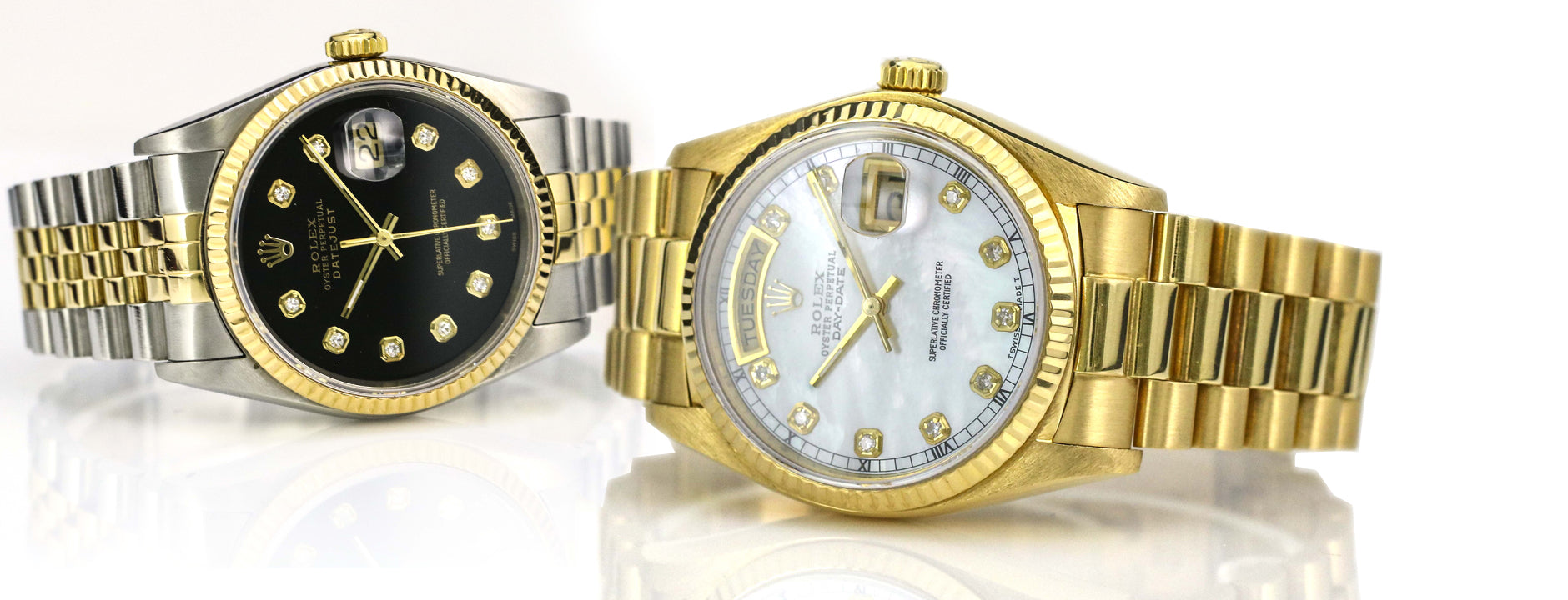 Photograph of two men watches. At front there an 18 karat yellow gold Rolex Day-Date watch for men on classic presidential bracelet with a custom diamond white mother of pearl dial. On the back the Men's two tone DateJust with fluted bezel and diamonds.