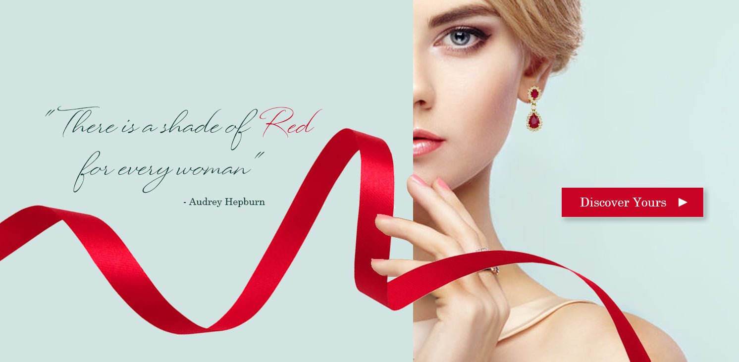 There is a shade of red for every woman - Audrey Hepburn Season Banner for Ruby and Red Color Gemstones