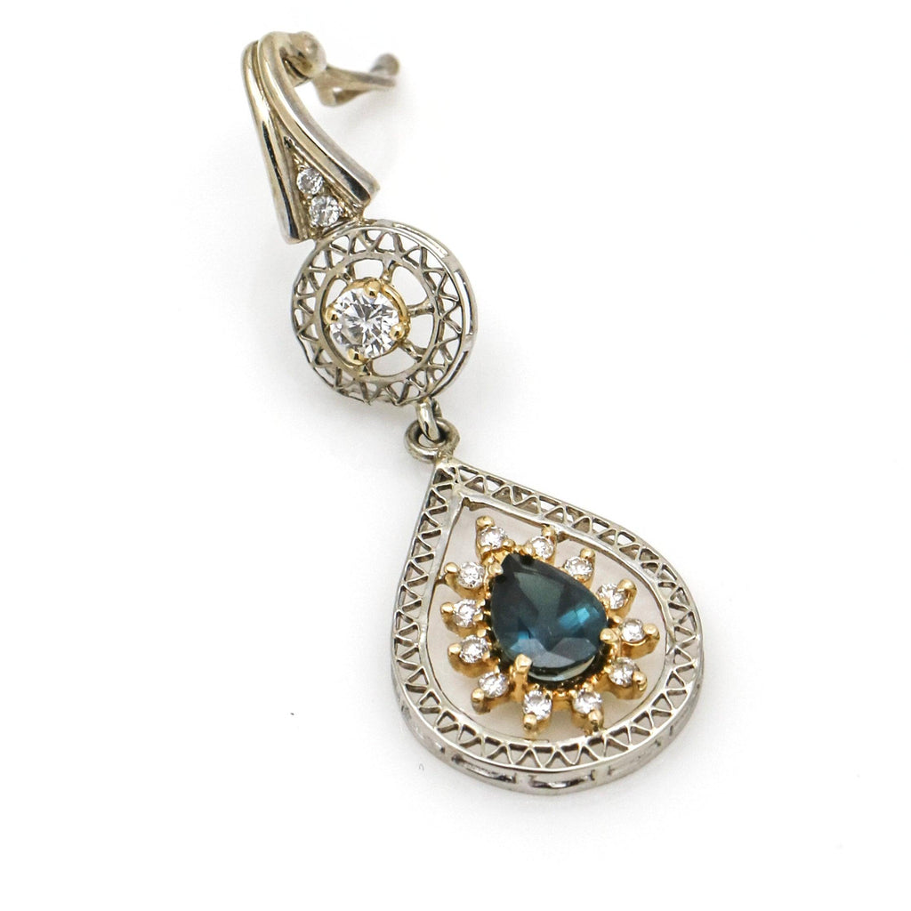 Diamond and Sapphire Pear Drop Dangle Pendant Necklace in 14k Gold ( .85 ct tw )