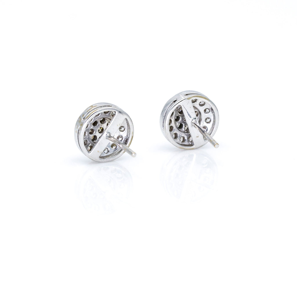 Pave Brown and White Diamond Round Stud Earrings in 14k White Gold (.70 ct tw )