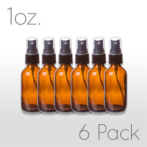 1 oz Amber Glass Bottle with Pump Sprayer 6 pack