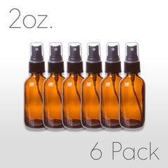 2 oz Amber Glass Bottle with Pump Sprayer 6 pack