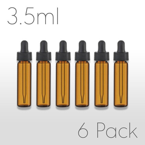 3.5ml Dram Amber Vial with Dropper Assembly - 6 pack