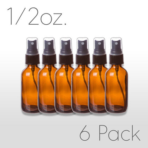 1/2 oz Amber Glass Bottle with Pump Sprayer 6 pack