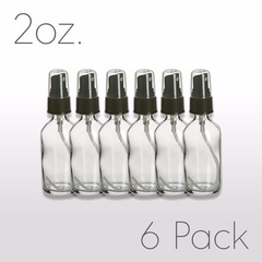 2 oz Clear Glass Bottle with Pump Sprayer 6 pack