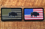 Bison Union Buffalo Freedom Patch - in tactical subdued or full color RWB