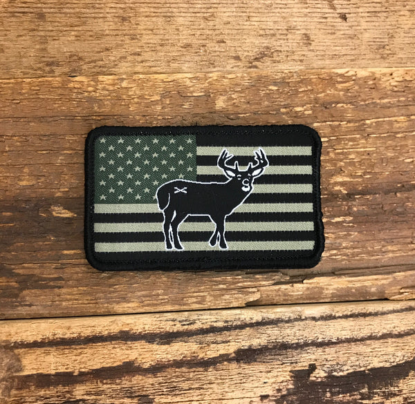 Bison Union Deer Freedom Patch - in tactical subdued or full color RWB