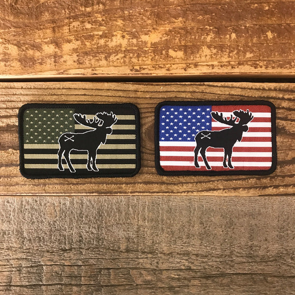 Bison Union Moose Freedom Patch - in tactical subdued or full color RWB