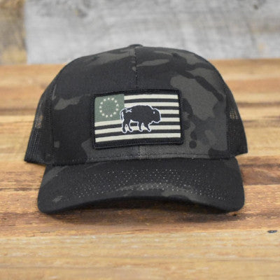 "Bison Union ""Multicam® Black"" Flag Hats"
