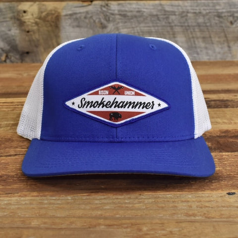 "Bison Union ""Smoke Hammer"" Trucker FLEX FIT (fitted) Structured Hats"