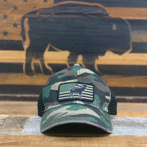 "Bison Union ""Moose Flag"" Relaxed Fit Unstructured Hats"