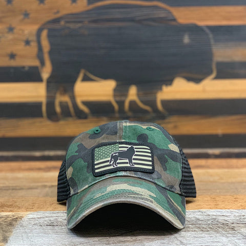 "Bison Union ""Wolf Flag"" Relaxed Fit Unstructured Hats"