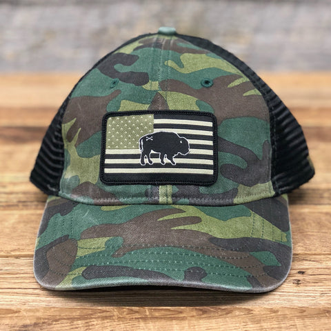 "Bison Union ""Buffalo Flag"" Relaxed Fit Unstructured Hats"