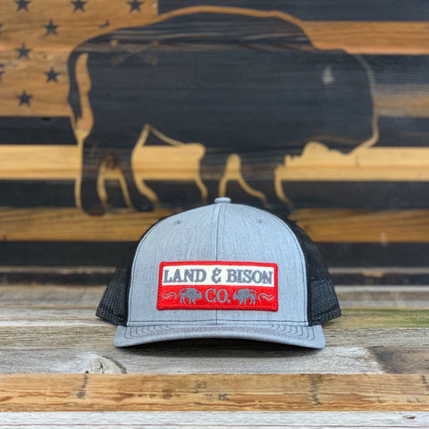 Land and Bison Low Profile Light Gray/Black Mesh/Red Patch