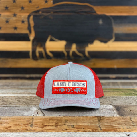 Land and Bison Low Profile Light Gray/Red Mesh/Red Patch