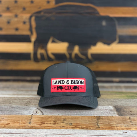 Land and Bison Low-Profile Dark Gray/Black Mesh/Pink Patch