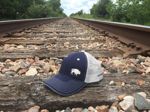 The Bison Union Trucker Velcro-back Structured Hats w/Buffalo Front, Classic Logo back/side