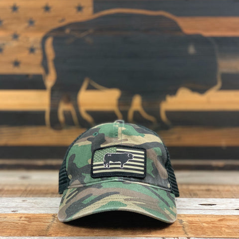"Bison Union ""Bull Flag"" Relaxed Fit Unstructured Hats"
