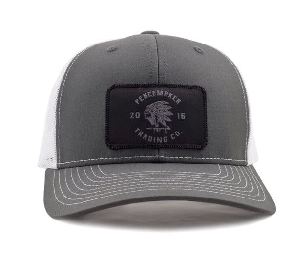 Peacemaker Headdress Snapback - Charcoal/White Black Patch