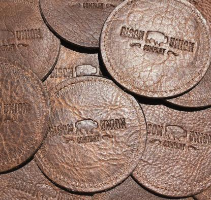 "Bison Union Handmade ""American Bison Leather Coasters"" Set of 4"