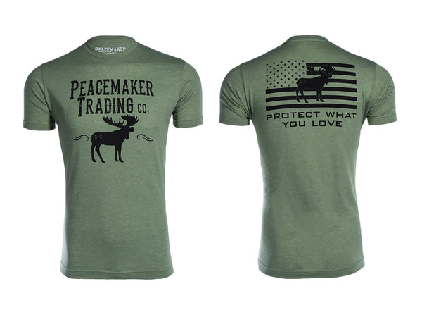"""The Peacemaker Moose"" Tee - Black Font"