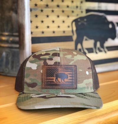 "Bison Union ""Leather Buffalo Flag"" Hat"
