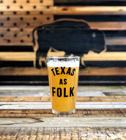 Texas as Folk Pint Glass