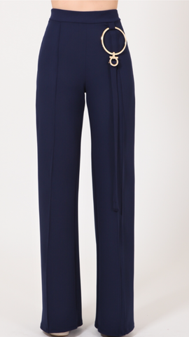 Melissa Navy High-Waisted Pants W/Gold Ring