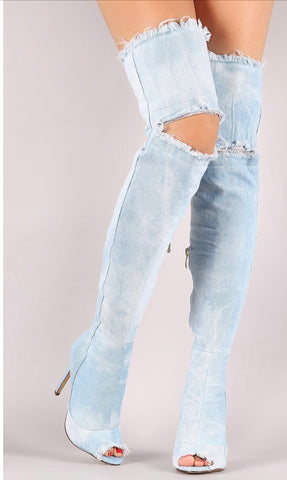 Barbara Denim Distressed Tall Boot