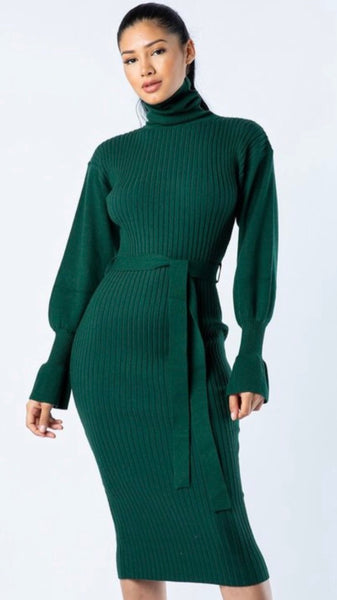 Tondra Hunter Green Turtleneck Dress