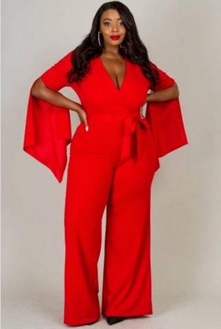 Karmen Red Deep V-Neck Jumpsuit